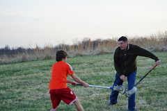 Erik and his dad battle for the ball