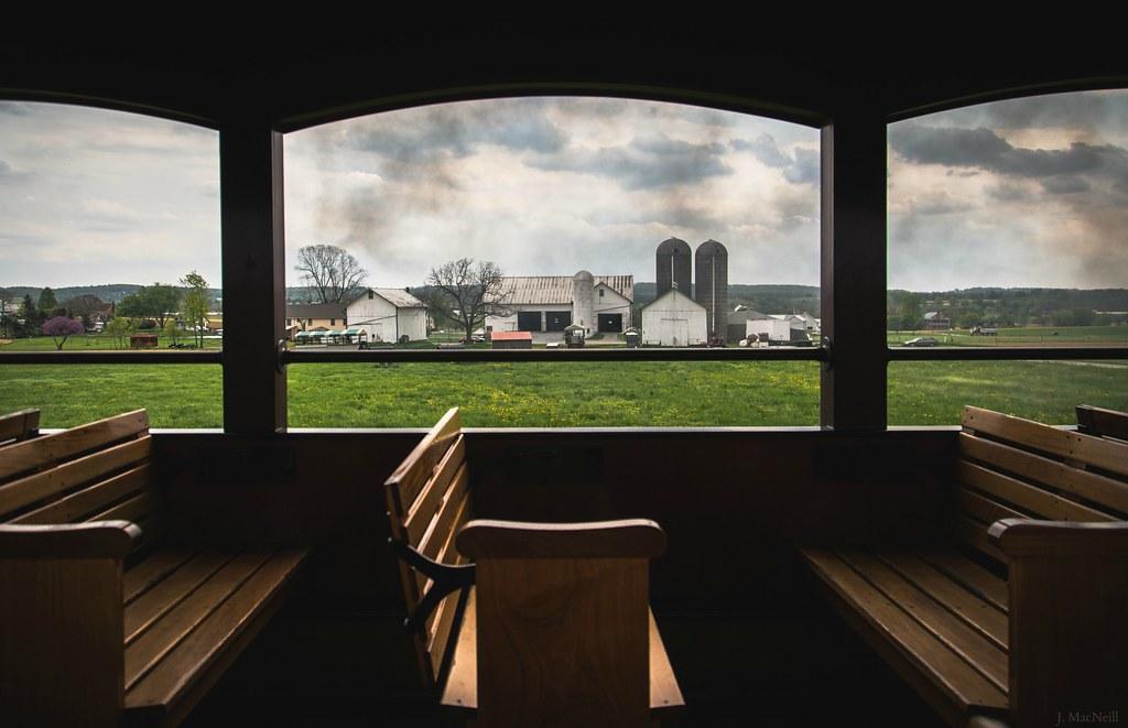 Railroad Train Ride Pennsylvania Farm Empty Seat Farmland Amish Pa Seats  Strasburg Framing Lancastercounty