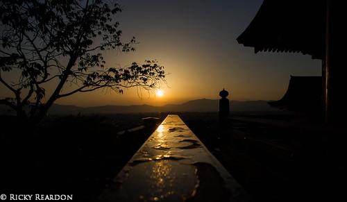 sunset silhouette japan kyoto kiyomizudera