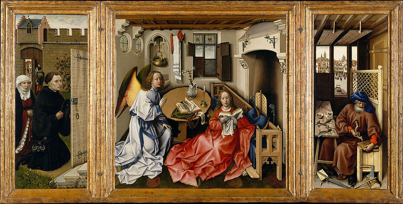 """Triptych with the Annunciation, or """"Merode Altarpiece"""", by Robert Campin"""