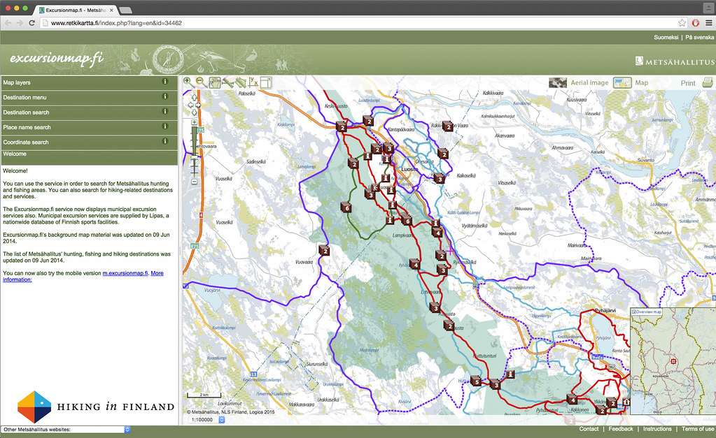 Retkikartta.fi Map of trails, sights and shelters