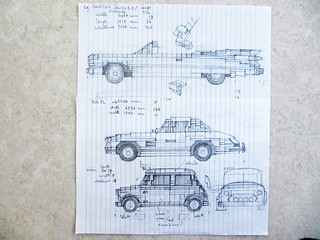 Car design drawings: cars for Bright Bricks