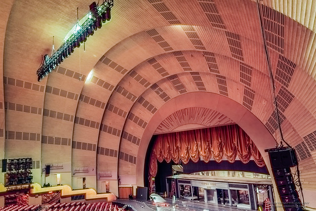 Auditorium, and stage at the Radio City Music Hall