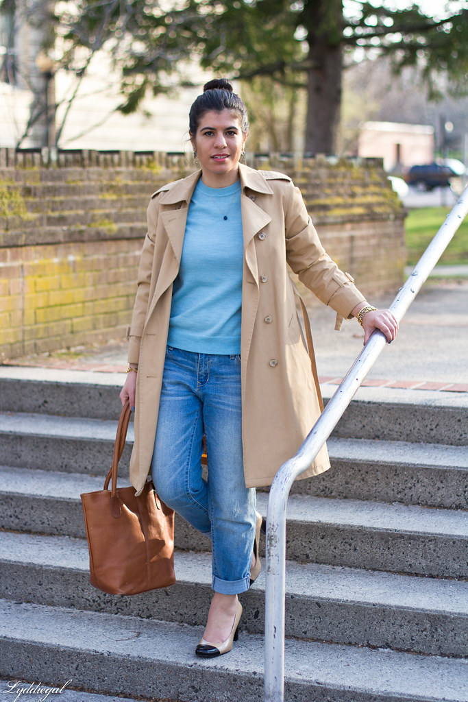 blue sweater, boyfriend denim, trench coat.jpg