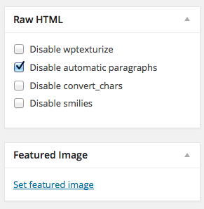 Raw HTML Options on the Right Side