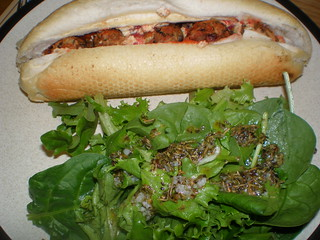 Beanball Sub with salad with Mediterranean Olive Oil and Lemon Vinaigrette