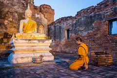 Buddha statue and Novice