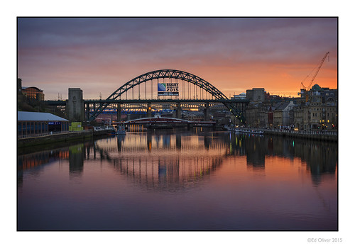 sunset water buildings reflections glow tynebridge advertisement kc swingbridge earlyevening rivertyne highlevelbridge newcastlequayside qeiibridge hostcity canonef24105mmf4lis edoliver ukbridges canoneos5dmarkiii 7wishes rugbyworldcup2015 newcastleupontynenortheast gatesheadquauyside 7wishesphotography