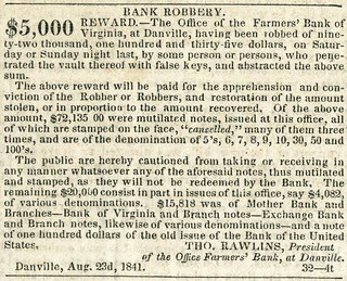 Danville branch Farmers Bank of Virginia robbery Aug 1841 Richmond Enquirer 1
