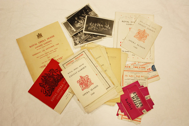A selection of programmes and photographs recently donated to ROH Collections