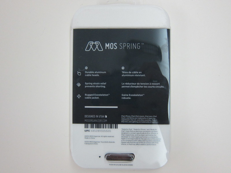 MOS Spring Lightning Cable - Packaging Back