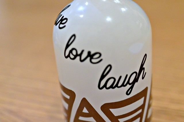 Live Lough Laugh embellishment on a bud vase