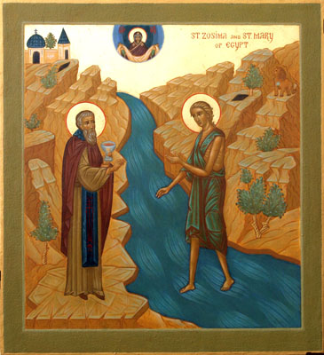 Icon of Ss Mary of Egypt and Zosimus