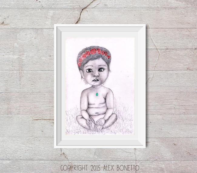 charcoal-drawing-free-gift, Design-by-Alex-B, bimba-con-coroncina-di-fiori--disegno-a-carboncino