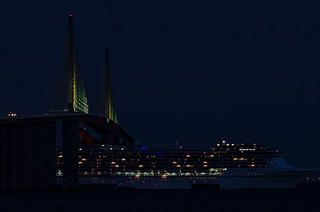 Carnival Pride's smoke stack ready to under the Sunshine Skyway Bridge