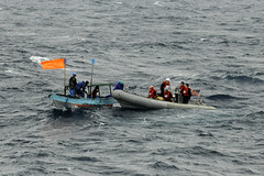 Sailors attached to USS Blue Ridge (LCC 19) rescue five stranded Filipino nationals whose fishing vessel suffered from mechanical difficulties. (U.S. Navy/MC3 Cody R. Babin)