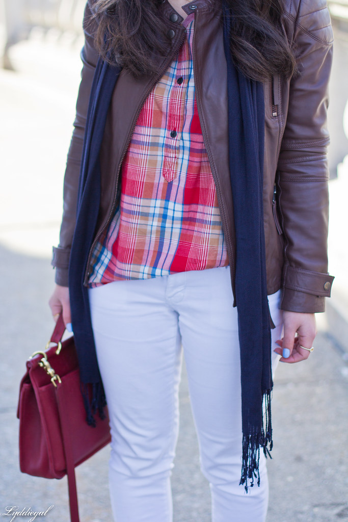 Jachs plaid shirt, white denim, grey trainers, leather jacket-6.jpg