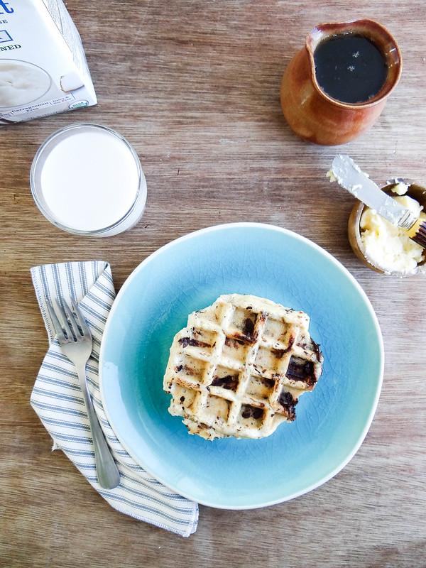 coconut chocolate chunk waffles