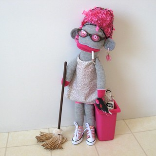 Sock Monkey SADIE the Saucy Cleaning Lady and Roz Rat
