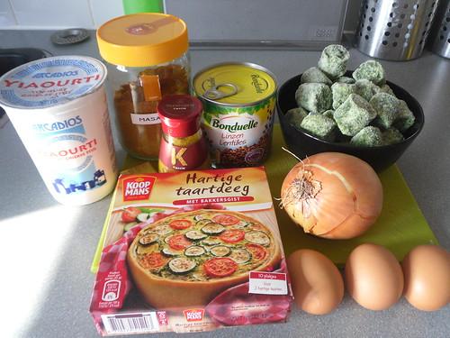 Spinach Masala Quiche Ingredients