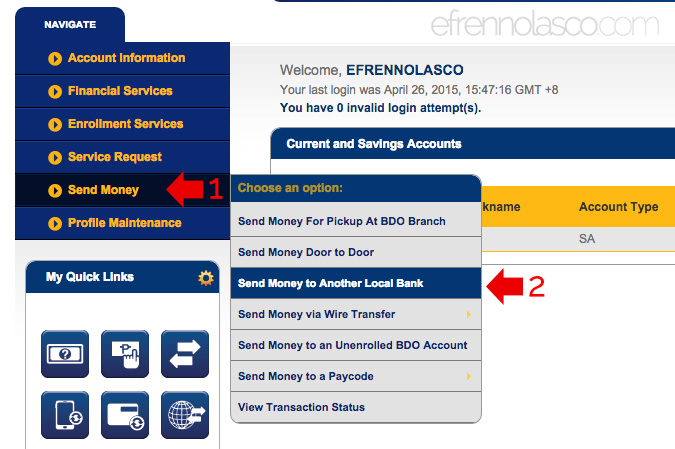 How to transfer funds to other local bank using bdo online banking