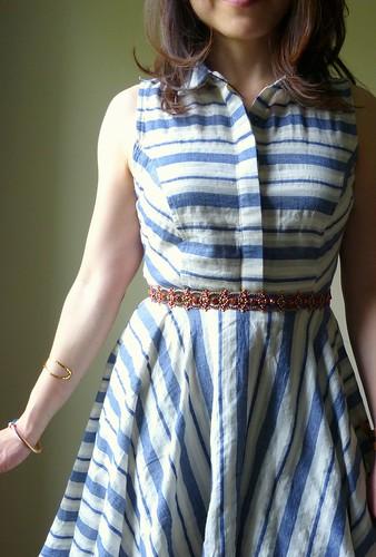 mixed stripe shirtdress