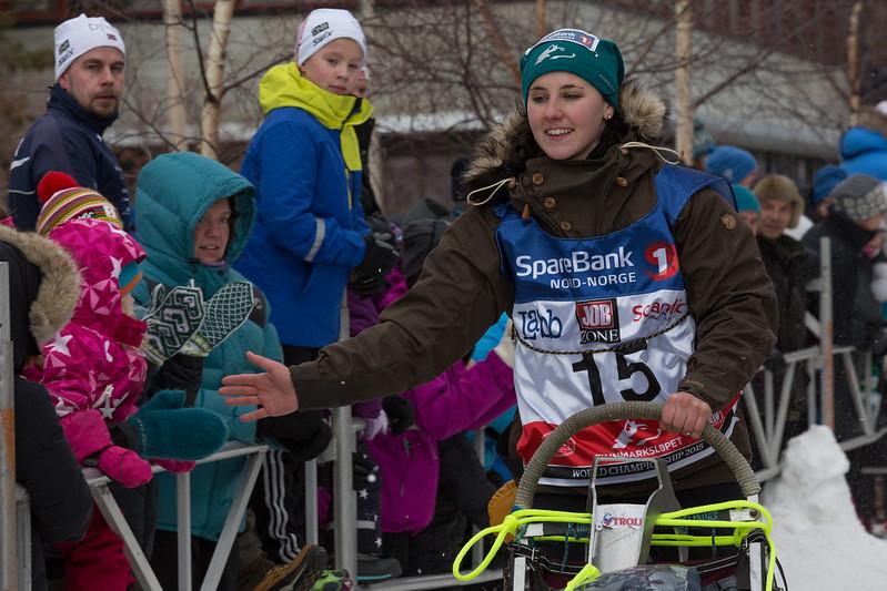 Mailene Skjølås inn til 23. plass i Finnmarksløpets 500 km klasse. Foto: Tommy Hansen