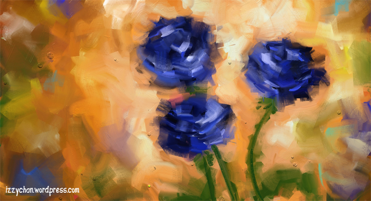 artrage blue roses oil painting impressionism