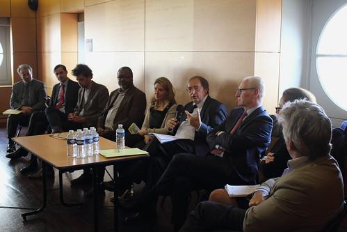 Bruno Perrin (EY), Fabrice Naftalski (EY), David Lacombled (Orange), Wally Badarou (Sacem), Laure Kaltenbach (Forum d'Avignon), Pierre Sirinelli, Alain Kouck (Editis), Françoise Benhamou (économiste), Hervé Rony (de dos, SCAM)
