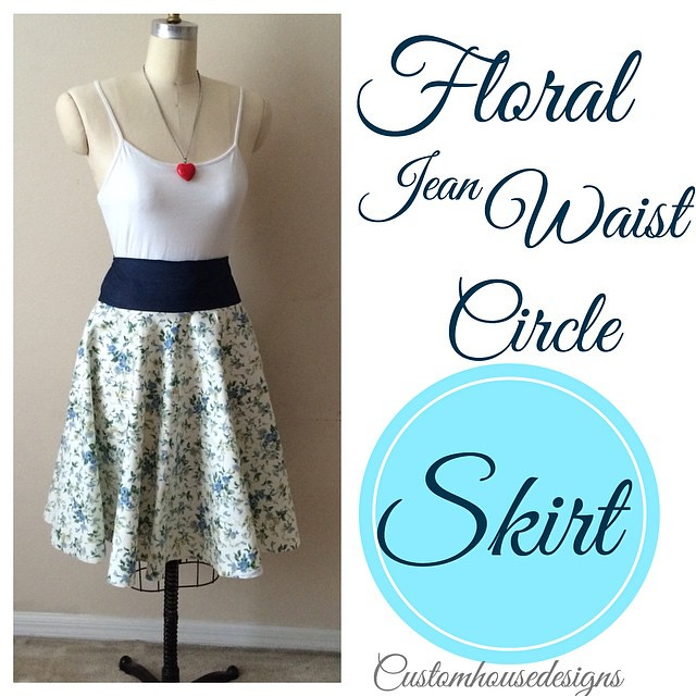 Floral Jean Waist Circle Skirt! A #CustomHousedesigns original! Custom made and one of a kind apparel and accessories by @itsmelaniedarling and @polishedbou! Stay tuned for the upcoming launch of Customhousedesigns and available distinct items for purch