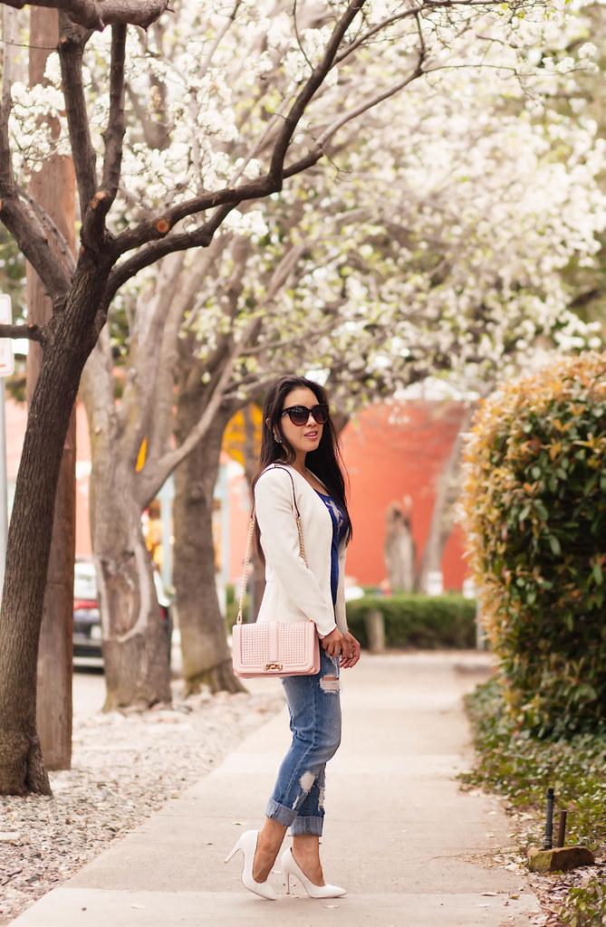 cute & little blog | petite fashion | white blazer, distressed boyfriend jeans, minkoff love crossbody, white pumps | spring outfit