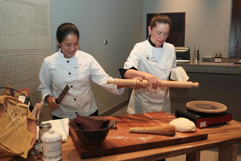 Margarita Fores and Carla Brigliadori make piadina on the  spot