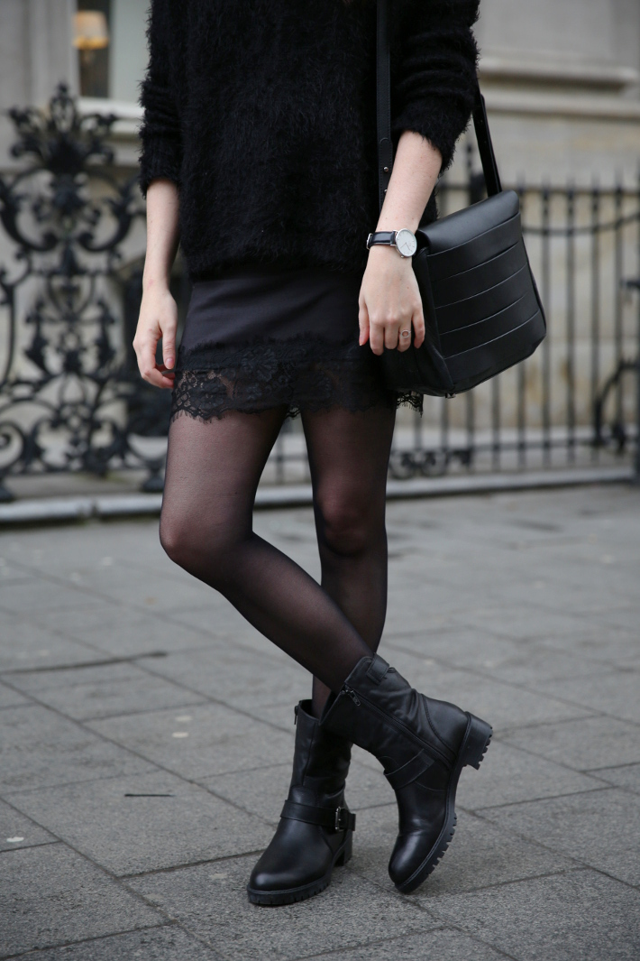 outfit: all black in slip skirt and biker boots