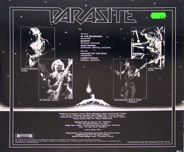 "PARASITE S/T SELF-TITLED Heavy Metal Sweden 12"" Vinyl LP"