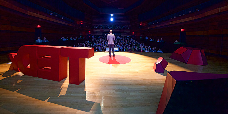 Dr. Rob Andrew presenting at the fifth annual TEDxQueensU conference, held March 29 at the Isabel Bader Centre for the Performing Arts.