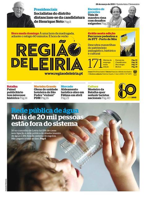 Capa Regiao de Leiria edição 4071 de 26 de marco 2015