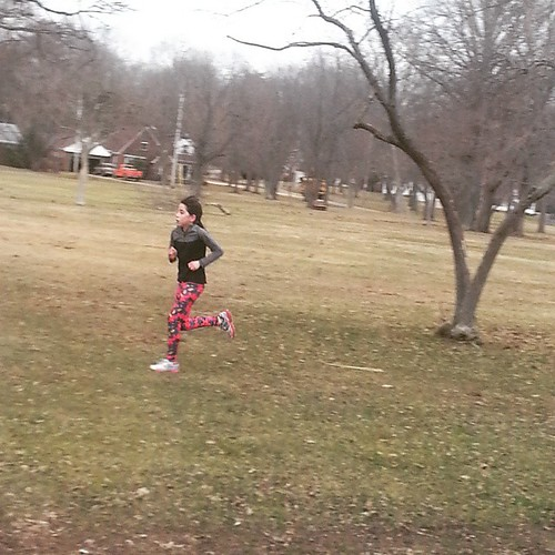 They cancelled practice,  so she decided to run on her own,  5 Times around the park!