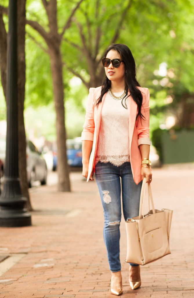 cute & little blog | petite fashion | pink blazer, pink lace tank, ag distressed skinny jeans, rose gold pumps | spring outfit