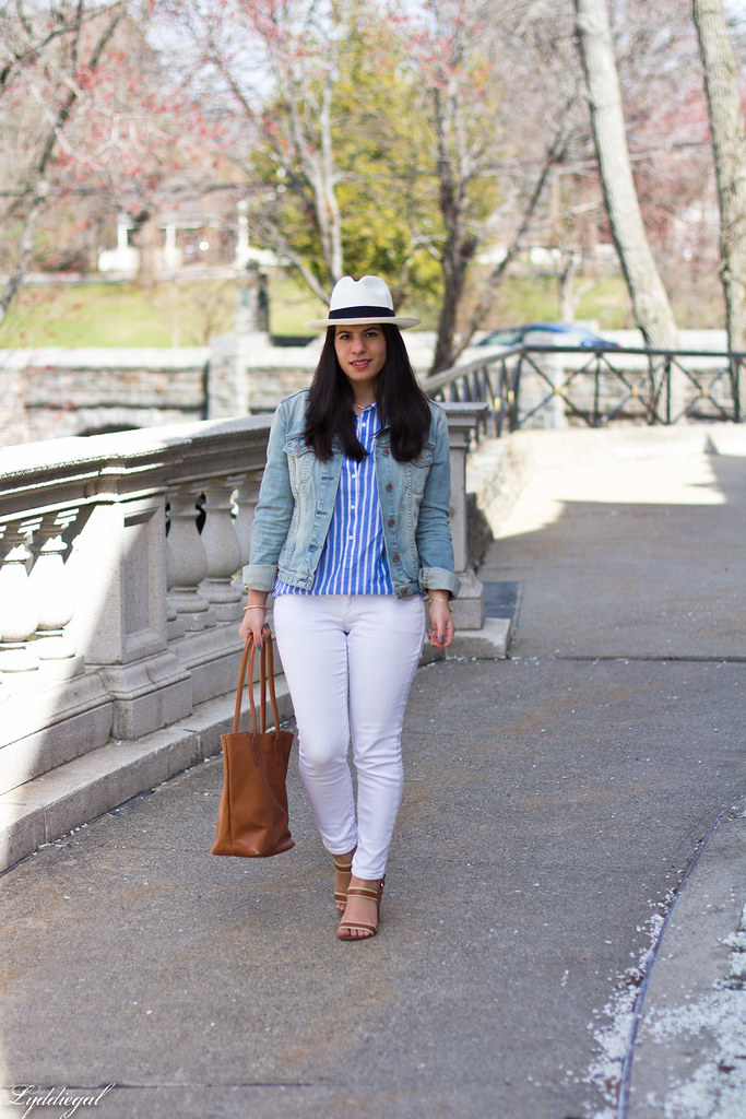 white jeans, striped top, denim jacket, panama hat.jpg