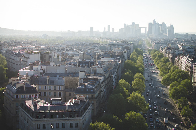 Looking west, you get a fantastic view of the La Défense region of Paris from the top of the Arc de Triomphe.