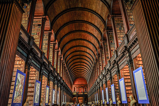 The Long Room in the Old Library at Trinity College Dublin Ireland