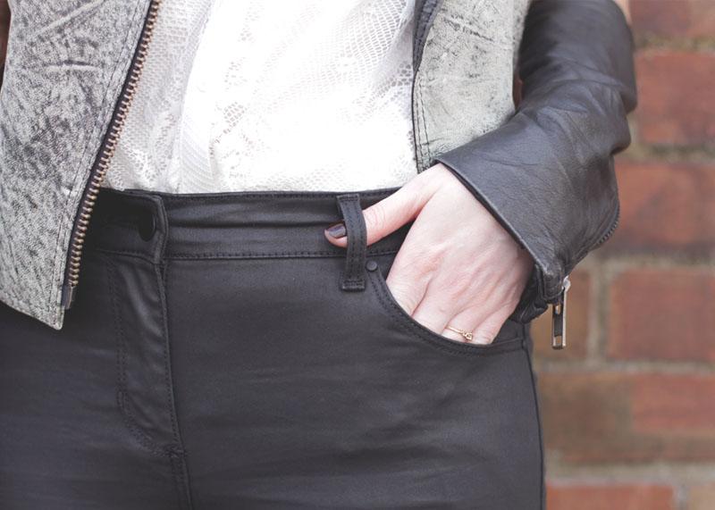 Wallis Black waxed jeand and white lace shirt, Bumpkin Betty