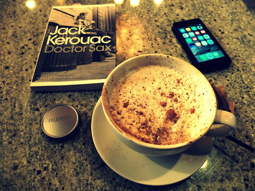 cappuccino, book, iPhone, FujiFilm