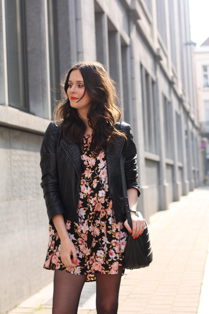outfit: 90s grunge in floral babydoll, leather jacket