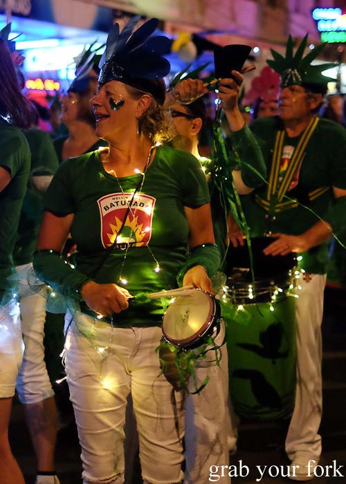 Batucada parade tamborim player at the Cuba Dupa Festival 2015, Wellington