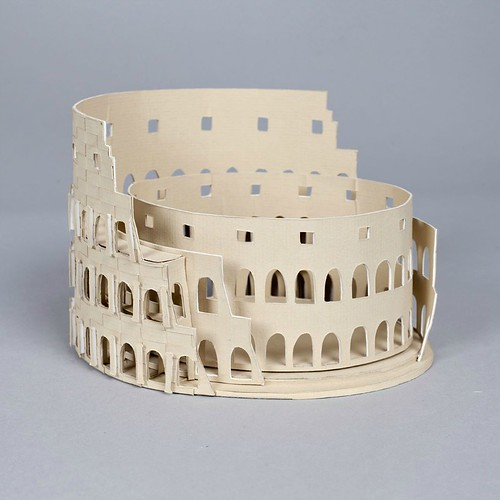 Paper Sculpture Roman Amphitheater by Julianna Szabo