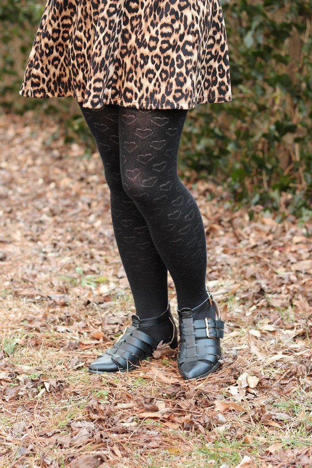 Heart Print Sweater Tights and Pointed Boots Flats Hybrid Shoes