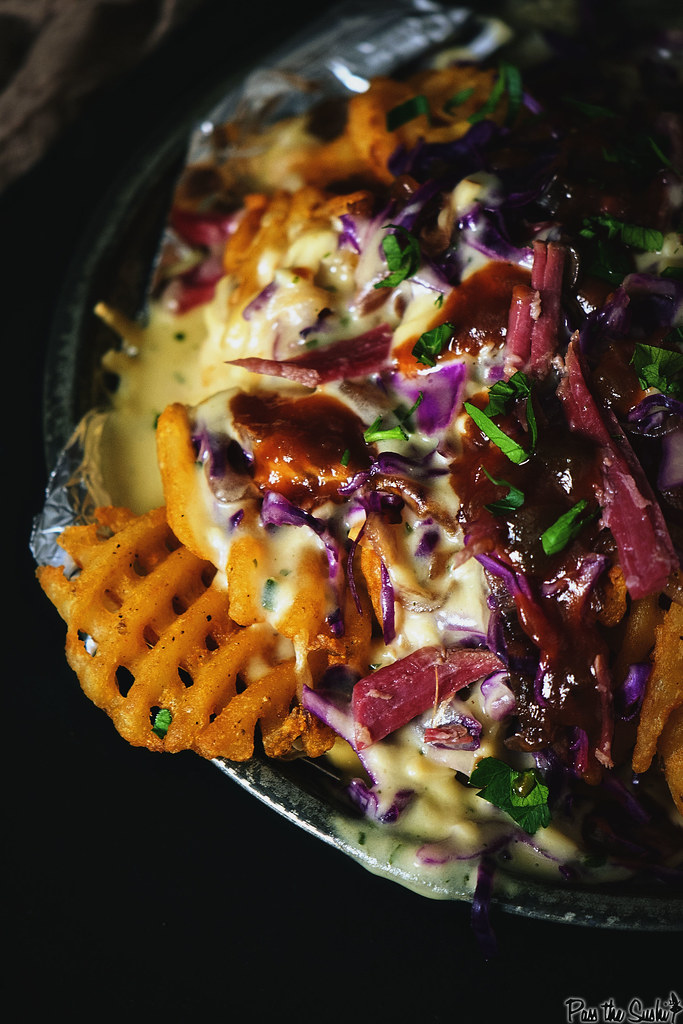 Corned Beef Nachos with Herbed Whiskey Fondue