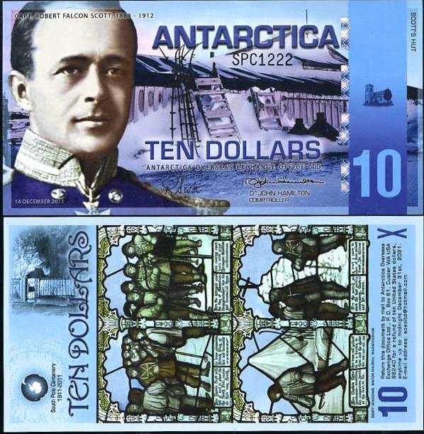 10 Dolárov Antarktída 14.12.2011, polymer