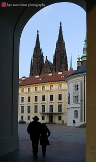 a couple at prague castle, czech republic